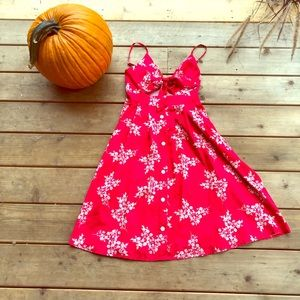 Fancyinn Red & White Floral Dress Bow Front sz S
